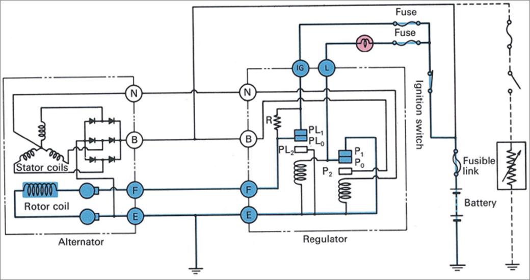 """Bila kunci kontak diputar ke posisi """"On"""" arus dari baterai"""